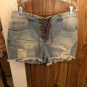 Forever 21 Denim cutoff shorts with tie closure